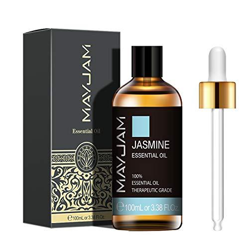 MAYJAM Aceites Esenciales de Jazmín 100 ml, 100% Aceites Esenciales Naturales Puros, Aceite Esencial de Aromaterapia de Grado Terapéutico, Aceites de Fragancia para Difusor Humidificador Relajación
