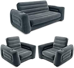 Intex Queen Size Inflatable Pull-Out Sofa Bed Couch and Chair Sleeper, Dark Gray