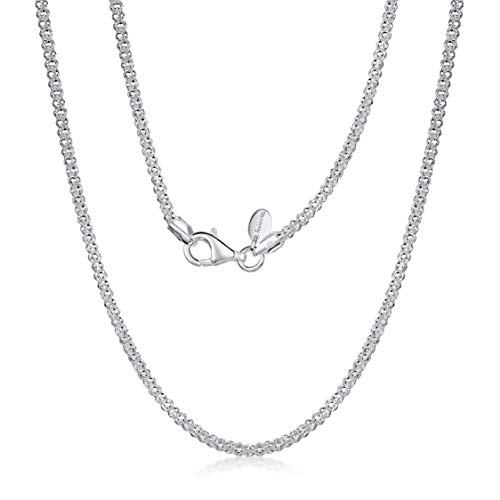 925 Sterling Silver 2.5 mm Diamond Cut Popcorn Coreana Chain Necklace Size: 16 18 20 22 24 inch / 40 45 50 55 60 cm (24inch/60cm)