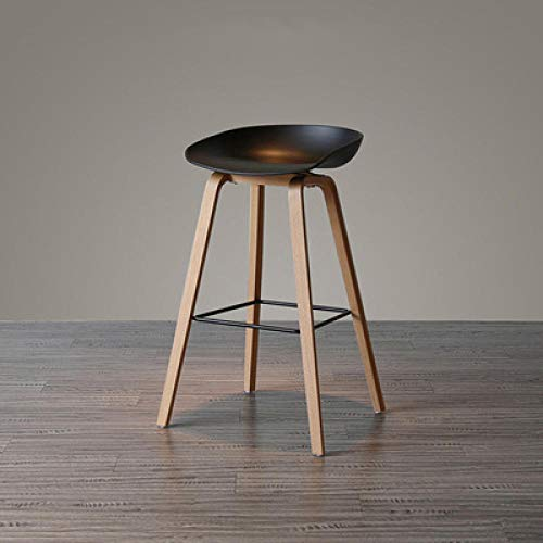 CC.Stars Bistro Stuhl,Solid Wood pp bar Table and Chairs, stylish high Stool, Simple Nordic bar Chair-Black_75cm