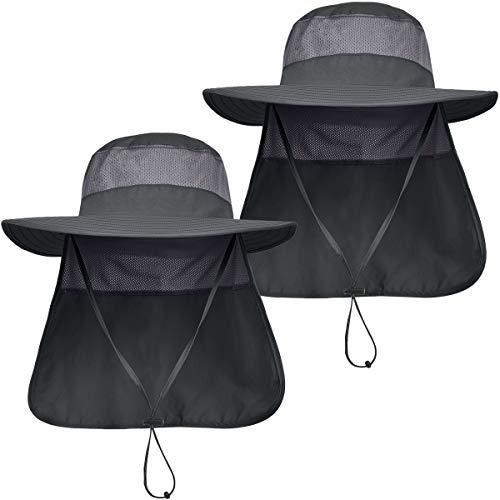 LCZTN Mens UPF 50+ Sun Protection Safari Cap Wide Brim Fishing Hiking Hat with Neck Flap for Garden Work (2 Pack-Dark Grey&Dark Grey)