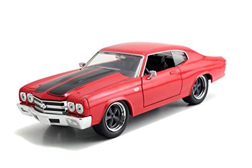 Jada Toys Fast & Furious Dom's Chevy Chevelle SS, 1970, Spielzeugauto aus Die-cast, öffnende Türen, Kofferraum & Motorhaube, Maßstab 1:24, rot