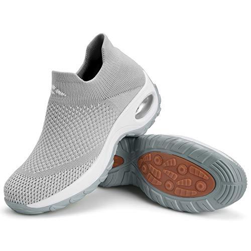 Zapatillas Deportivas Mujer Zapatos de Correr Running Ligero Calzado Casual Aumentar Más Altos Sneakers Gris Claro D, Gr.40 EU