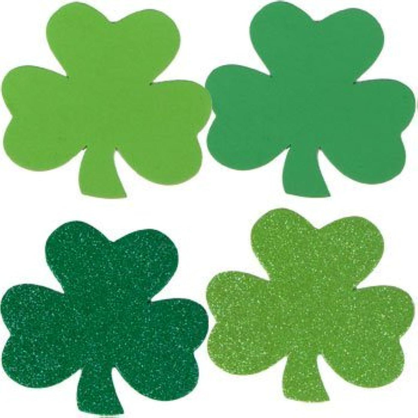St. Patricks Day Decorations - 4 Foam Shamrocks - 12 Per Pack