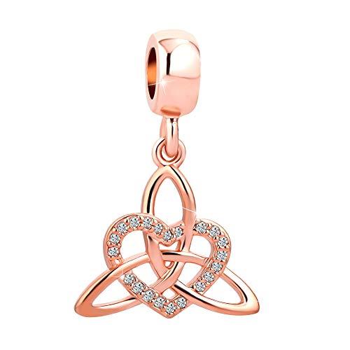 SexyMandala Lucky Irish Trinity Celtic Knot Lover Heart Shaped Pendant Charms Rose Gold fit Bracelets