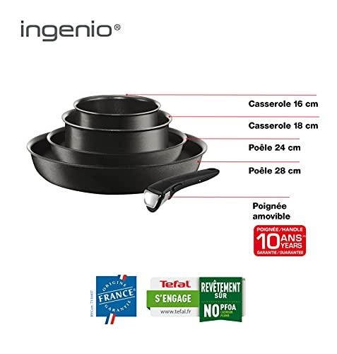 Tefal Ingenio Expertise - Juego de 2 Sartenes y 2 Cazos + Mango extraíble: 2 Sartenes de 24/28 cm y 2 Cazos de 16/18 cm, Titanium Excellence, sartenes antiadherentes, apto para todo tipo de cocinas