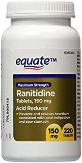 Equate Maximum Strength Acid Reducer Ranitidine Tablets, 150 mg, 220 Ct