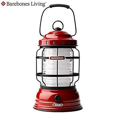 Barebones Living Forest Lantern   Red - Rechargeable Outdoor Lantern with LED Lights