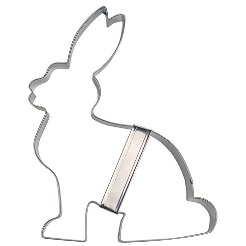 Städter Ausstechform Hase sitzend, Edelstahl, Silber, 14 x 14 x 3 cm