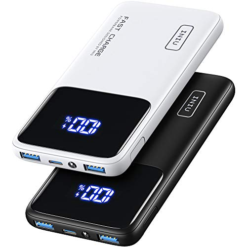 INIU Portable Charger, [2 Pack] 20W PD 3.0 QC4.0 Fast Charging 10500mAh LED Display Power Bank, USB C Battery Pack with Phone Holder for iPhone 12 11 Pro Samsung S20 Google AirPods iPad Tablet LG etc