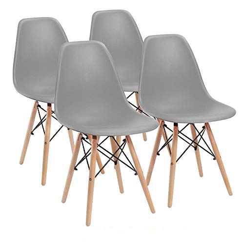 Comfortableplus Juego de 4 sillas de Comedor Retro Asiento de plástico y Las piernas de Madera (Gris)
