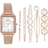 Anne Klein Women's Swarovski Crystal Accented Mesh Bracelet Watch and Barrette Set, AK/3642