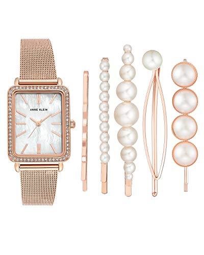 Anne Klein AK/3642 - Reloj de pulsera y pasador para mujer con cristales de Swarovski