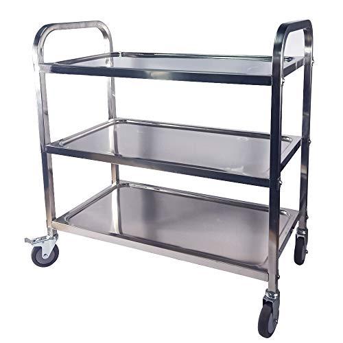 Taimiko - Carro de servicio (acero inoxidable, 3 estantes, 75 x 40 x 83,5 cm, con ruedas, 4 tamaños a elegir