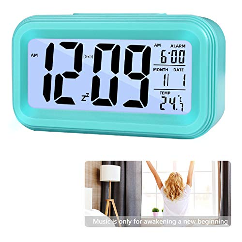 Reloj de Alarma Digital, LCD Pantalla Reloj Alarma Inteligente y con Pantalla de Fecha y Temperatura Función Despertador con Sensor de luz y función Snooze Funciones, para Niños Adultos (azul)