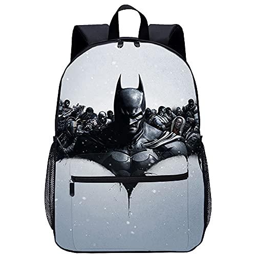 RomantiassLu Batman Arkham Origins Bruce Wayne Mochila Mochila escolar impresa en 3D Mochilas escolares para niñas adolescentes Mochilas ligeras Mochila de moda