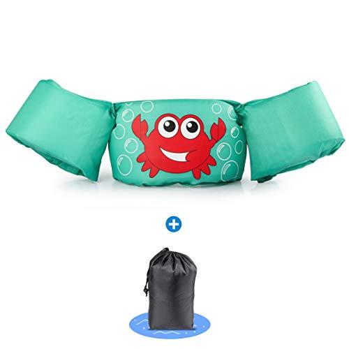 kacai Schwimmflügel mit Sicherheitsgurt Schwimmhilfe, für Kinder von 2-6 Jahre 14-23kg Schwimmanfänger hautfreundliche kein Aufblasen erforderliche Schwimmweste (Krabbe)