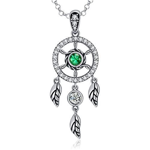 MEGACHIC Collar Atrapasueños Circonita de Color Esmeralda Colgante para Mujer Regalo Madre Esposa Abuela Joyería con Cristales