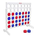 GoSports Giant Portable 4 in a Row Game - Huge 4 Foot Width - with Rules and Carry Bag, White
