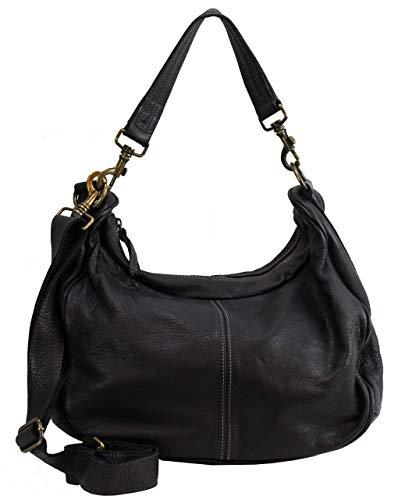 BZNA Sia - Borsa a tracolla da donna, in pelle di pecora, colore: nero