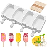 Mini moldes de congelador,molde de silicona para helado de paleta,Moldes para helado,Molde Helado Silicona,Moldes Paletas,Con 50 Palos Madera,fácil de lavar y enjuagar (blanco)