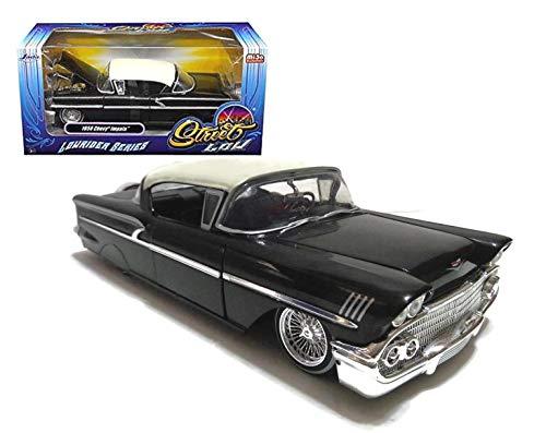 Jada 1958 Chevrolet Impala Black Lowrider Series Street Low 1/24 Diecast Model Car 98919