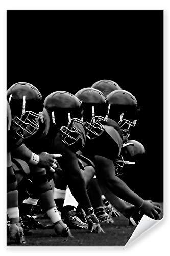 Postereck - Poster 0142 - NFL, Schwarz Weiss Football Amerika USA Angriff GFL - Größe 3:2 - 91.0 cm x 61.0 cm