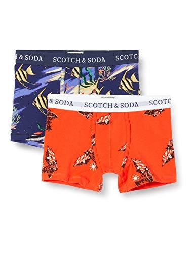 Scotch & Soda Shrunk Jungen Print im 2er-Pack Boxershorts, Mehrfarbig (Combo H 0587), 152 (Herstellergröße: 12)