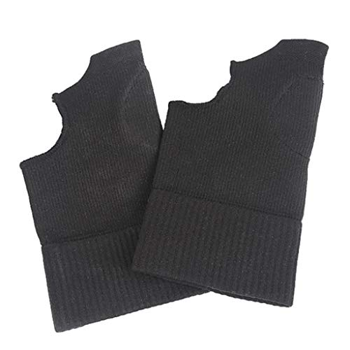 GROOMY Bracer, Sports Thumb Wrist Brace Silicone Pad Compression Support Sleeve for Pain Relief-Black-L