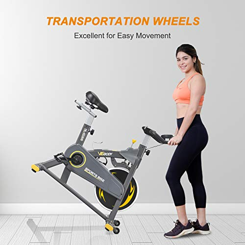 VIGBODY Indoor Cycling Bike Stationary Bike Exercise Bike With Adjustable Magnetic Resistance Cardio Workout Bike Home Bicycle