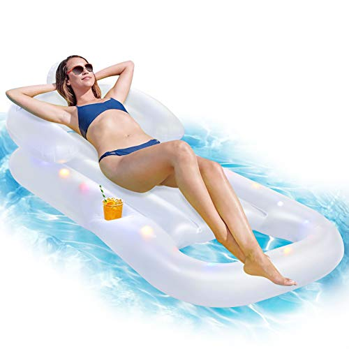 Growsland Pool Floats for Adults and Kids, Inflatable Pool Lounge Chairs with 3 Modes LED Lights, Cup Holder, Back Support for Swimming Pool, Water Park, Beach, Lake, River