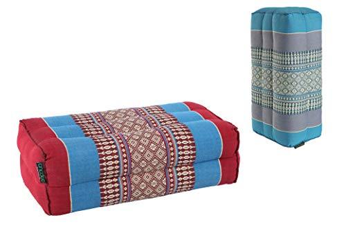 ANADEO Standard - Juego de 2 Yoga y meditación Cojín Zafu Estándar - Kapok de Alta Densidad 100% Natural - Confort y Firmeza - Estabilidad de Asís - Turquesa/Azul Borgoña