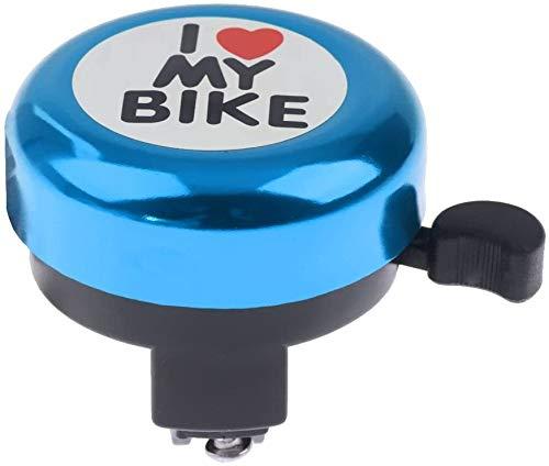 WTTX Mini Fahrrad Klingel für Kinder/klingelt laut und hell/I Love My Bike (Blau, 54mm)