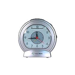 Sonic Bomb Analog Alarm Clock with Bed Shaker, Silver - SBA475ss   Vibrating Alarm Clock Heavy Sleepers, Battery Backup   Wake with a Shake