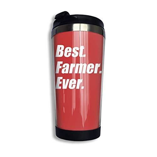 Bester Landwirt aller Zeiten Langlebige isolierte Kaffeetassen aus Edelstahl mit Deckel 400 ml doppelwandige Reisekaffeegläser für den Außenbereich