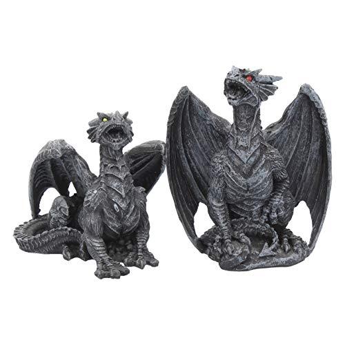 Nemesis Now Dark Fury - Juego de 2 Figuras de dragón de 10 cm, Color Negro, Talla única