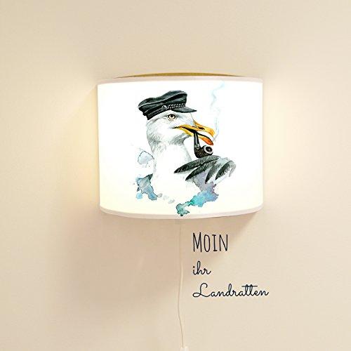 Leseschlummerlampe Leselampe Schlummerlampe Wandlampe Kinderlampe Lampe Möwe mit Wanddeko Ls06 - mit Wandtattoo