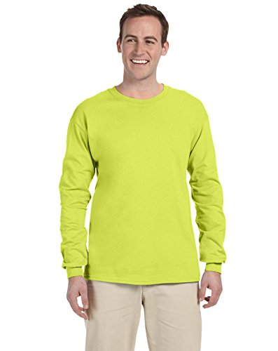 Fruit of the Loom Adult 5 oz. Long-Sleeve T-Shirt, Safety Green, L