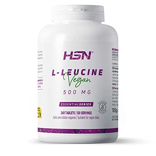 L-Leucina de HSN | 2000mg por Dosis Diaria | Aminoácido Esencial | Suplemento Deportivo Recuperador Muscular y Ganar Masa Muscular | No-GMO, Vegano, Sin Gluten, Sin Lactosa | 240 Tabletas