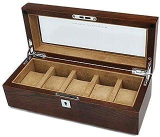 Watch Box Watch Display Organizer Smyckeskrin i massivt trä med nyckellås Herrsmyckenklockor Samlingshållare Skryter Glass...