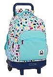 Safta Mochila Escolar con Carro Incluido y Espalda Acolchada de Benetton Brochitas, 330x220x450 mm, Multicolor
