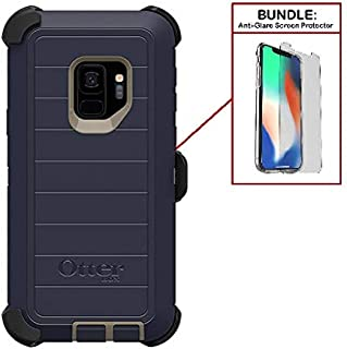 OtterBox Bundle: Heavy Duty Case for Samsung Galaxy S9 (ONLY) & Superior Drop Protection - Modern Design + Bonus Tempered Glass Screen Protector (Renewed)