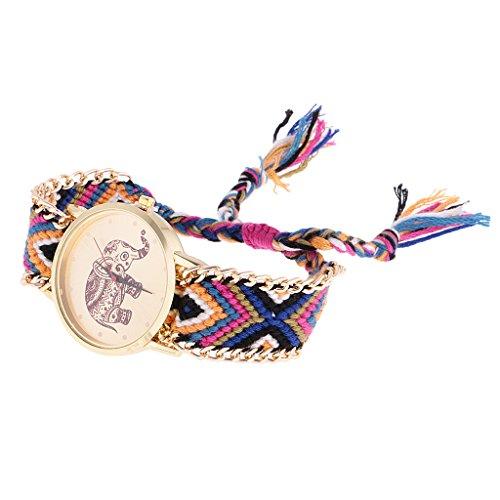 Nobranded Reloj de Pulsera Dorado con Trenzado de Lana Estilo Geneva Reloj de Pulsera con Elefante Y Atrapasueños - Oro 8