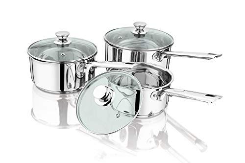 Penguin Home Mango Remachado Cacerola de Acero Inoxidable con Tapas de Cristal 3-Pieza Establecer