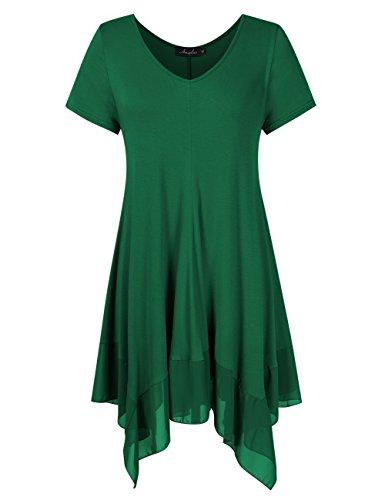 AMZ PLUS Womens Plus Size Short Sleeve Spliced Asymmetrical Tunic Top Dark Green 4XL