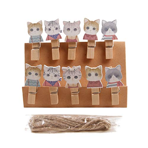 Yotaini Cute Kitten Natural Wood Clip Cartoon Photo Wood Clip Star Piece Decoration Wood Clip Clothespin Craft Clips for DIY Party Decoration
