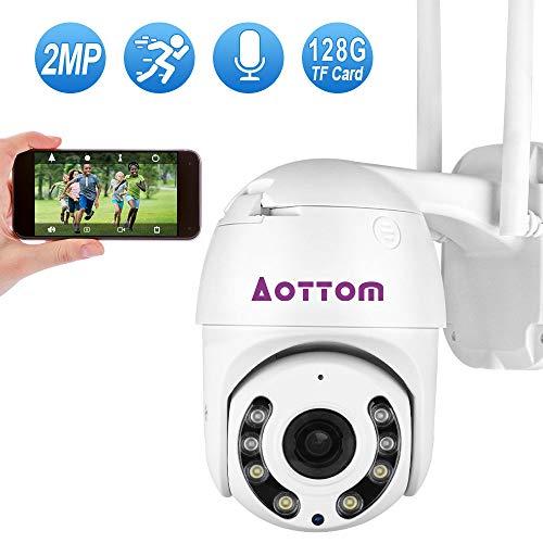 Aottom Cámara IP Exterior, Camara IP WiFi 1080p, Cámara PTZ Vigilancia Exterior WiFi, 4X Zoom, 355° Pan/90° Tilt, IR Vision Nocturna 40M, Audio Bidireccional, Detección de Movimiento, IP66