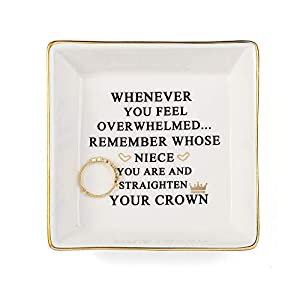 These charming jewelry dishes are crafted from great quality solid glazed ceramic and coated with a layer of bright white primer to protect the surface. The lettering is intricately cut from vinyl and applied to the surface to create a flawless finis...