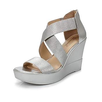 DUNION Women s AWE Zip Closure Crisscross Straps Platform Wedge Sandal Wedding Party Dress Shoe,Silver Awe,8.5 M US