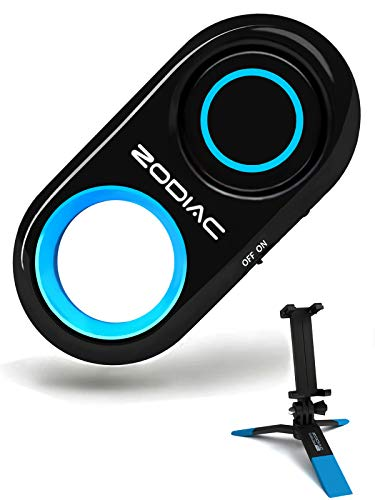 Premium Bluetooth Selfie Remote Control Camera Shutter + Mini Tripod for iPhone, Samsung Galaxy, Android - Amazing HD Selfie Clicker for Photos Videos, 30ft Range (Powered by USA Technology) - Blue